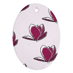 Magnolia Seamless Pattern Flower Oval Ornament (Two Sides)