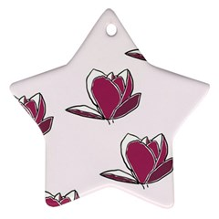 Magnolia Seamless Pattern Flower Star Ornament (Two Sides)