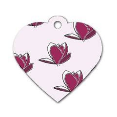 Magnolia Seamless Pattern Flower Dog Tag Heart (Two Sides)