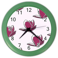 Magnolia Seamless Pattern Flower Color Wall Clocks