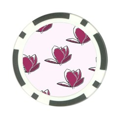 Magnolia Seamless Pattern Flower Poker Chip Card Guard (10 pack)