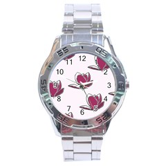 Magnolia Seamless Pattern Flower Stainless Steel Analogue Watch