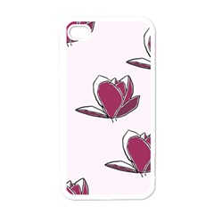 Magnolia Seamless Pattern Flower Apple iPhone 4 Case (White)