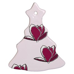 Magnolia Seamless Pattern Flower Christmas Tree Ornament (Two Sides)