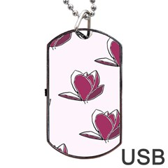 Magnolia Seamless Pattern Flower Dog Tag USB Flash (Two Sides)