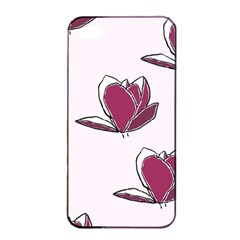 Magnolia Seamless Pattern Flower Apple iPhone 4/4s Seamless Case (Black)