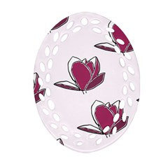 Magnolia Seamless Pattern Flower Oval Filigree Ornament (Two Sides)