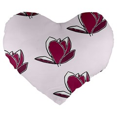 Magnolia Seamless Pattern Flower Large 19  Premium Heart Shape Cushions