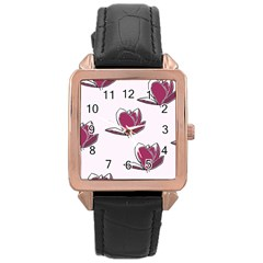 Magnolia Seamless Pattern Flower Rose Gold Leather Watch