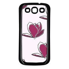 Magnolia Seamless Pattern Flower Samsung Galaxy S3 Back Case (Black)