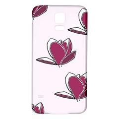 Magnolia Seamless Pattern Flower Samsung Galaxy S5 Back Case (White)