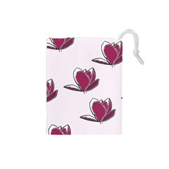 Magnolia Seamless Pattern Flower Drawstring Pouches (Small)
