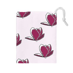 Magnolia Seamless Pattern Flower Drawstring Pouches (Large)