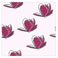 Magnolia Seamless Pattern Flower Large Satin Scarf (Square)