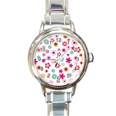 Floral Flowers Background Pattern Round Italian Charm Watch by Nexatart