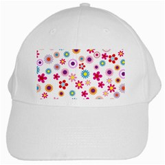 Floral Flowers Background Pattern White Cap by Nexatart