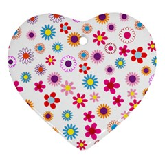 Floral Flowers Background Pattern Ornament (heart) by Nexatart