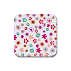 Floral Flowers Background Pattern Rubber Square Coaster (4 Pack)  by Nexatart