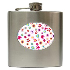 Floral Flowers Background Pattern Hip Flask (6 Oz) by Nexatart
