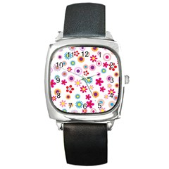 Floral Flowers Background Pattern Square Metal Watch by Nexatart