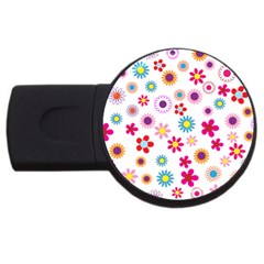 Floral Flowers Background Pattern Usb Flash Drive Round (4 Gb) by Nexatart