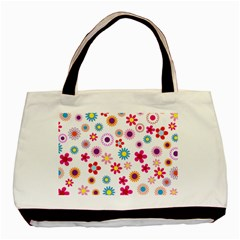 Floral Flowers Background Pattern Basic Tote Bag by Nexatart