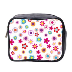 Floral Flowers Background Pattern Mini Toiletries Bag 2 Side by Nexatart
