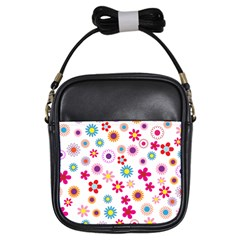 Floral Flowers Background Pattern Girls Sling Bags by Nexatart