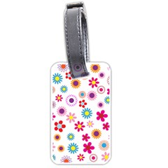 Floral Flowers Background Pattern Luggage Tags (one Side)  by Nexatart