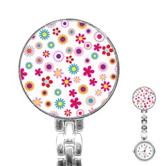 Floral Flowers Background Pattern Stainless Steel Nurses Watch