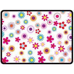 Floral Flowers Background Pattern Double Sided Fleece Blanket (large)