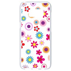 Floral Flowers Background Pattern Samsung Galaxy S8 White Seamless Case by Nexatart