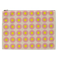 Pattern Flower Background Wallpaper Cosmetic Bag (xxl)  by Nexatart