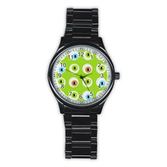 Eyes Background Structure Endless Stainless Steel Round Watch by Nexatart