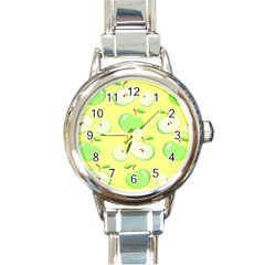 Apples Apple Pattern Vector Green Round Italian Charm Watch by Nexatart