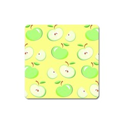 Apples Apple Pattern Vector Green Square Magnet by Nexatart