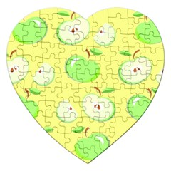 Apples Apple Pattern Vector Green Jigsaw Puzzle (heart) by Nexatart