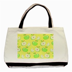 Apples Apple Pattern Vector Green Basic Tote Bag by Nexatart