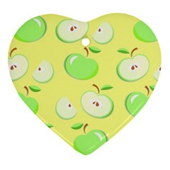 Apples Apple Pattern Vector Green Heart Ornament (two Sides) by Nexatart