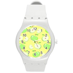 Apples Apple Pattern Vector Green Round Plastic Sport Watch (m)