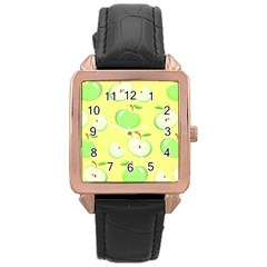Apples Apple Pattern Vector Green Rose Gold Leather Watch