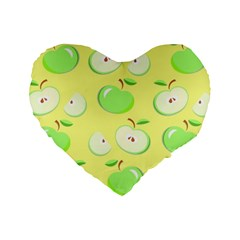 Apples Apple Pattern Vector Green Standard 16  Premium Flano Heart Shape Cushions