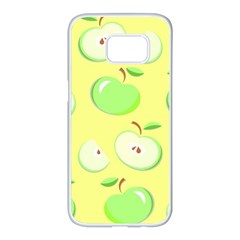 Apples Apple Pattern Vector Green Samsung Galaxy S7 Edge White Seamless Case by Nexatart