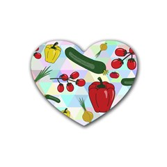 Vegetables Cucumber Tomato Rubber Coaster (heart)