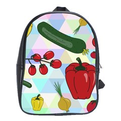 Vegetables Cucumber Tomato School Bags(large)  by Nexatart