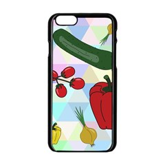 Vegetables Cucumber Tomato Apple Iphone 6/6s Black Enamel Case by Nexatart
