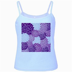 Floral Wallpaper Flowers Dahlia Baby Blue Spaghetti Tank