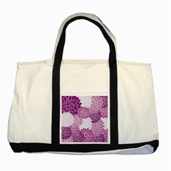 Floral Wallpaper Flowers Dahlia Two Tone Tote Bag