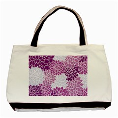 Floral Wallpaper Flowers Dahlia Basic Tote Bag (two Sides) by Nexatart