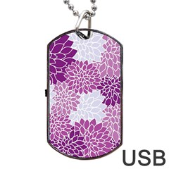 Floral Wallpaper Flowers Dahlia Dog Tag Usb Flash (two Sides)